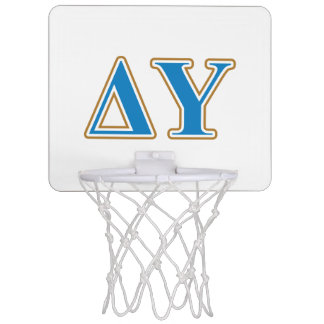 Delta Upsilon Gold and Sapphire Blue Letters Mini Basketball Hoop