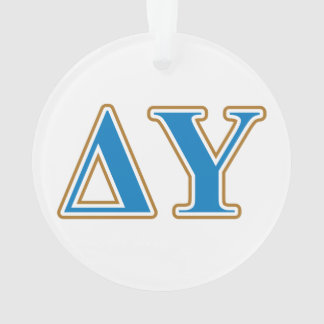 Delta Upsilon Gold and Sapphire Blue Letters Ornament