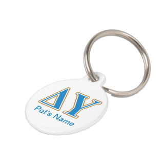 Delta Upsilon Gold and Sapphire Blue Letters Pet ID Tag