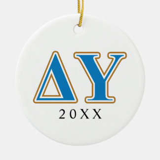 Delta Upsilon Gold and Sapphire Blue Letters Round Ceramic Decoration