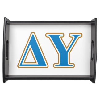 Delta Upsilon Gold and Sapphire Blue Letters Serving Tray