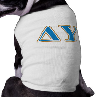 Delta Upsilon Gold and Sapphire Blue Letters Sleeveless Dog Shirt