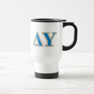 Delta Upsilon Gold and Sapphire Blue Letters Travel Mug