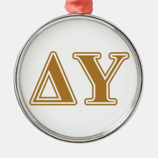 Delta Upsilon Gold Letters Christmas Ornament