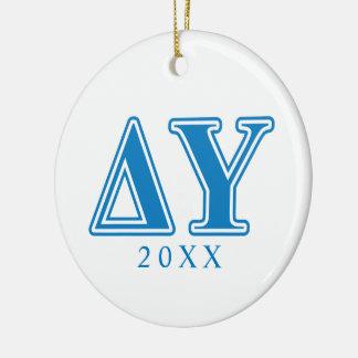Delta Upsilon Sapphire Blue Letters Christmas Ornament