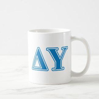 Delta Upsilon Sapphire Blue Letters Coffee Mug