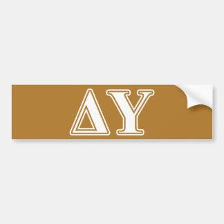 Delta Upsilon White and Gold Letters Bumper Sticker