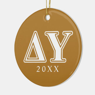 Delta Upsilon White and Gold Letters Christmas Ornament