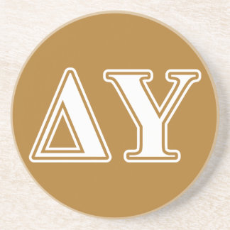 Delta Upsilon White and Gold Letters Coaster