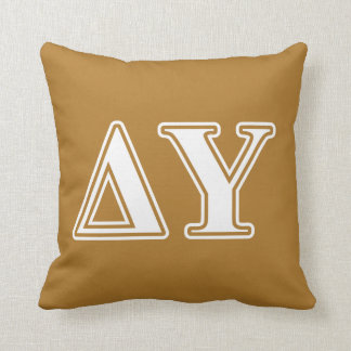 Delta Upsilon White and Gold Letters Cushion