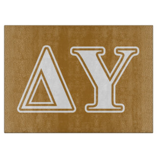 Delta Upsilon White and Gold Letters Cutting Board