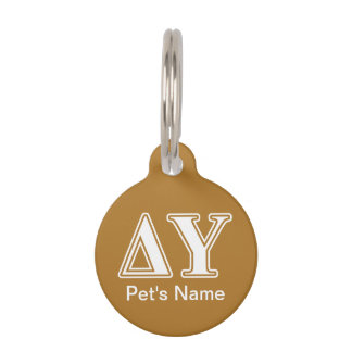 Delta Upsilon White and Gold Letters Pet ID Tag