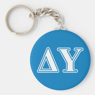 Delta Upsilon White and Sapphire Blue Letters Basic Round Button Key Ring