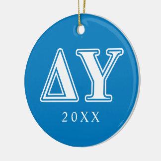 Delta Upsilon White and Sapphire Blue Letters Christmas Ornament