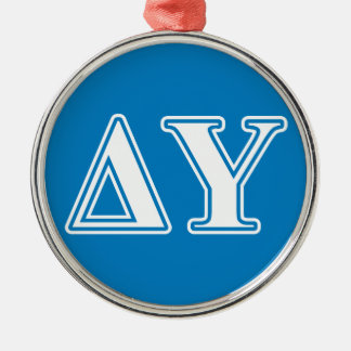 Delta Upsilon White and Sapphire Blue Letters Christmas Ornament