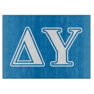 Delta Upsilon White and Sapphire Blue Letters Cutting Board