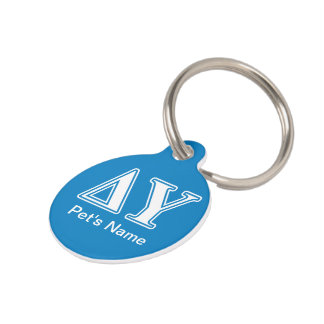 Delta Upsilon White and Sapphire Blue Letters Pet ID Tag