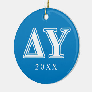 Delta Upsilon White and Sapphire Blue Letters Round Ceramic Decoration