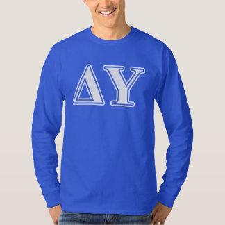 Delta Upsilon White and Sapphire Blue Letters T-Shirt