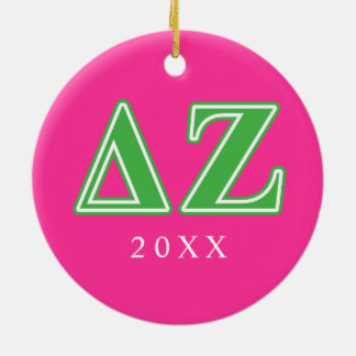 Delta Zeta Green Letters Christmas Ornament