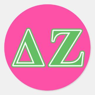 Delta Zeta Green Letters Classic Round Sticker
