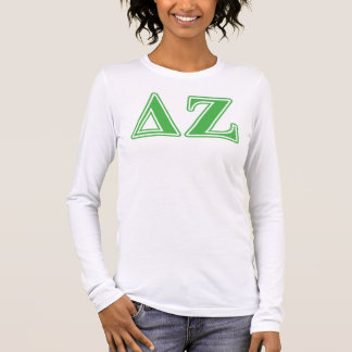 Delta Zeta Green Letters Long Sleeve T-Shirt