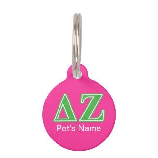 Delta Zeta Green Letters Pet ID Tag