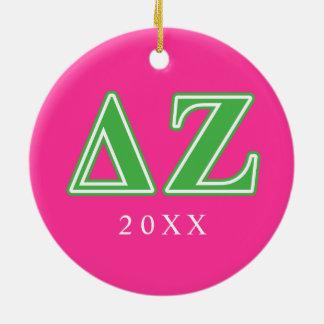 Delta Zeta Green Letters Round Ceramic Decoration