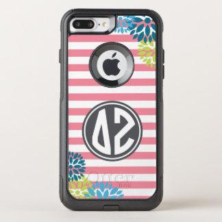 Delta Zeta   Monogram Stripe Pattern OtterBox Commuter iPhone 8 Plus/7 Plus Case