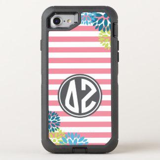 Delta Zeta   Monogram Stripe Pattern OtterBox Defender iPhone 8/7 Case