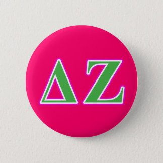 Delta Zeta Pink and Green Letters 6 Cm Round Badge