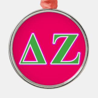 Delta Zeta Pink and Green Letters Christmas Ornament