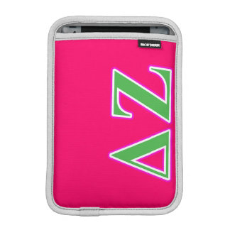 Delta Zeta Pink and Green Letters iPad Mini Sleeve