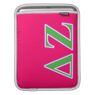 Delta Zeta Pink and Green Letters iPad Sleeve