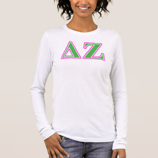 Delta Zeta Pink and Green Letters Long Sleeve T-Shirt