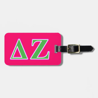 Delta Zeta Pink and Green Letters Luggage Tag