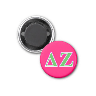 Delta Zeta Pink and Green Letters Magnet