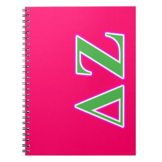 Delta Zeta Pink and Green Letters Notebook