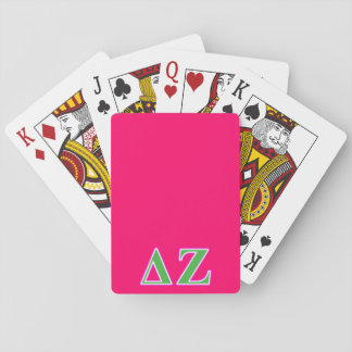 Delta Zeta Pink and Green Letters Playing Cards