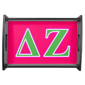 Delta Zeta Pink and Green Letters Serving Tray