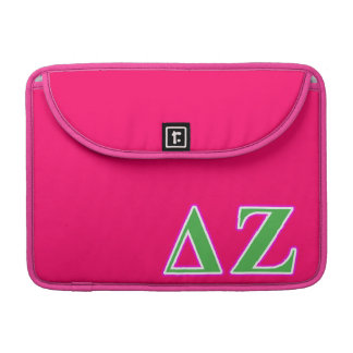 Delta Zeta Pink and Green Letters Sleeve For MacBooks