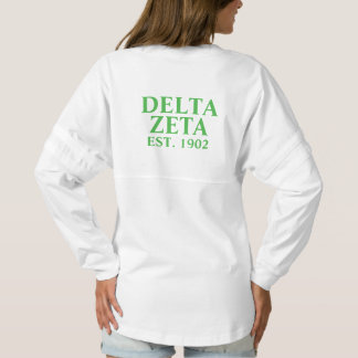 Delta Zeta Pink and Green Letters Spirit Jersey