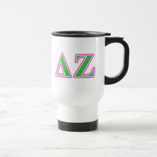 Delta Zeta Pink and Green Letters Travel Mug