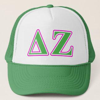 Delta Zeta Pink and Green Letters Trucker Hat