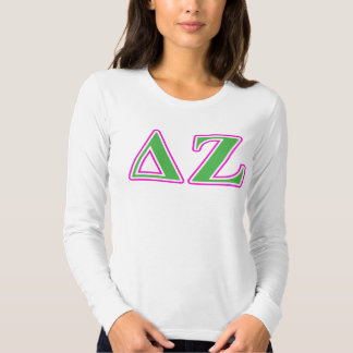 Delta Zeta Pink and Green Letters Tshirts