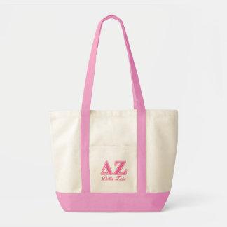 Delta Zeta Pink Letters Tote Bag