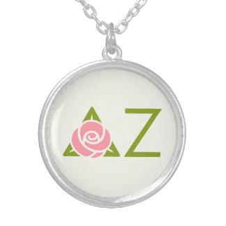 Delta Zeta Rose Icon Silver Plated Necklace