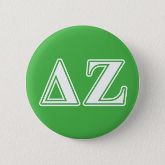Delta Zeta White and Green Letters 6 Cm Round Badge