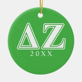 Delta Zeta White and Green Letters Christmas Ornament