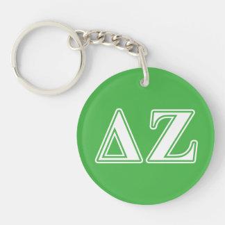 Delta Zeta White and Green Letters Key Ring